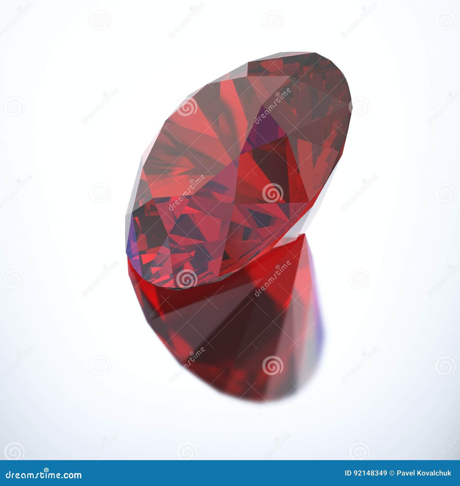 448b68b4a413 Rubí rojo del diamante del ejemplo 3D con la reflexión en un fondo gris