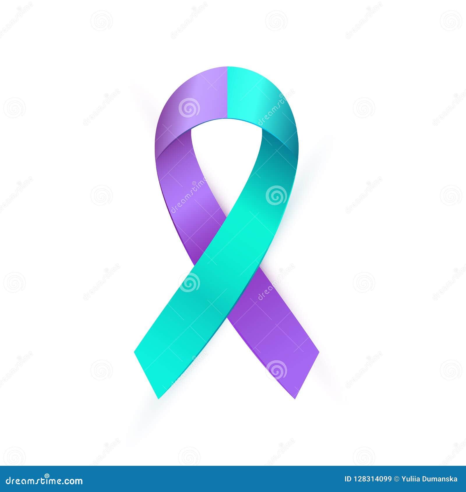 Ruban 3d bleu pourpre pour la conscience de prévention de suicide