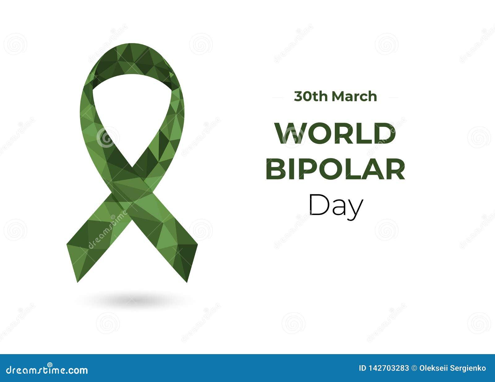 Ruban de conscience du monde bas poly de vert bipolaire de jour