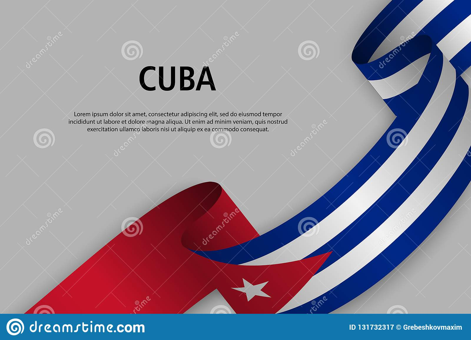 Ruban de ondulation avec le drapeau du Cuba,