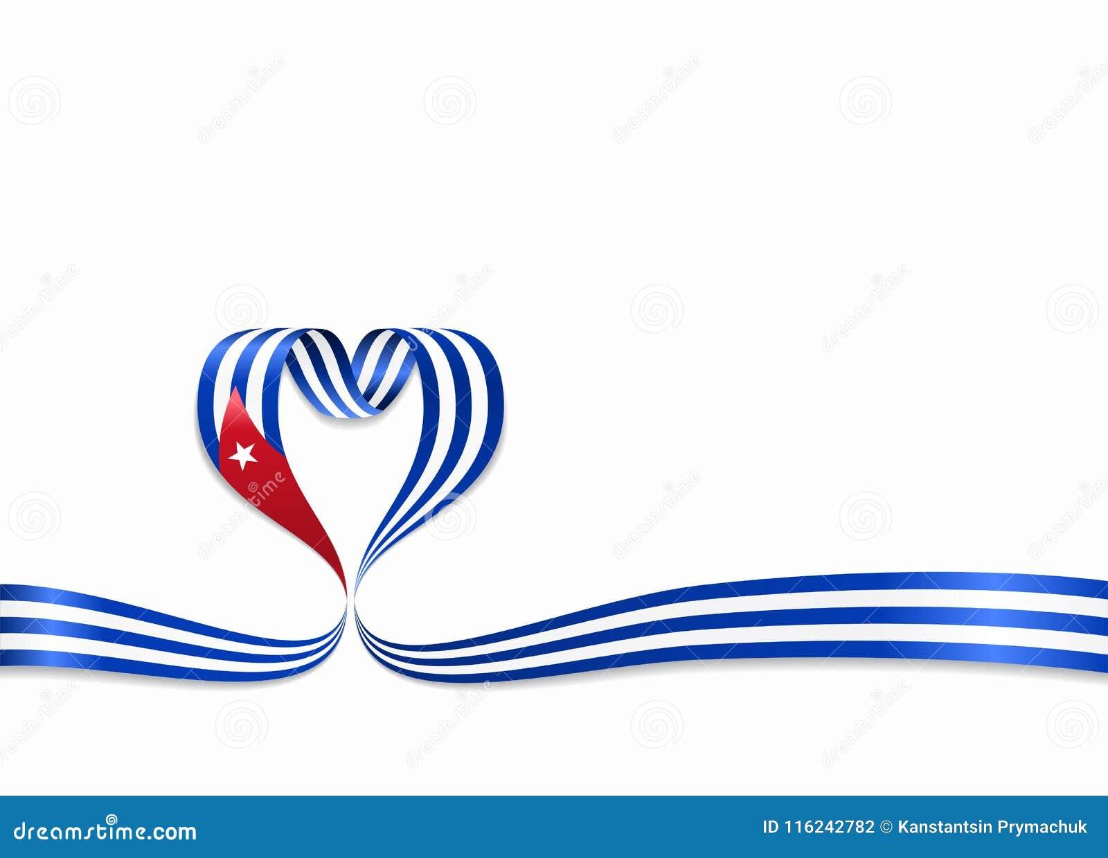 Ruban en forme de coeur de drapeau cubain Illustration de vecteur
