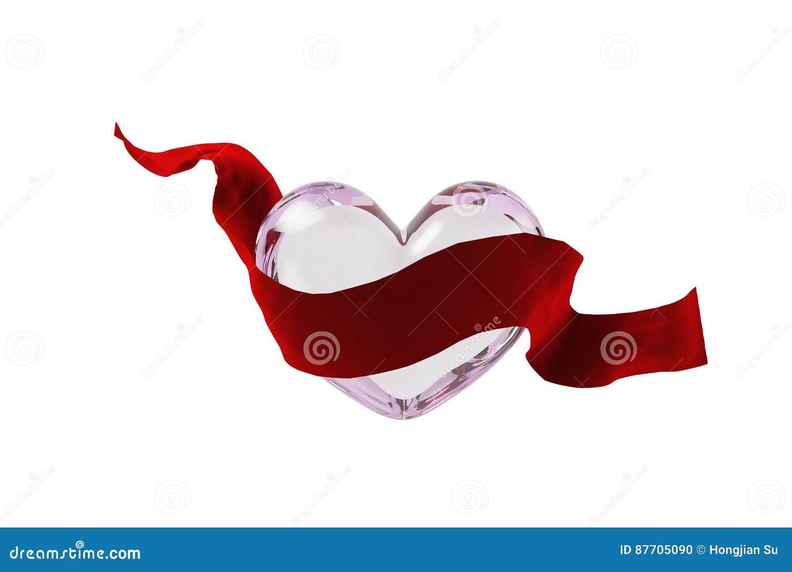 Ruban et verre en forme de coeur