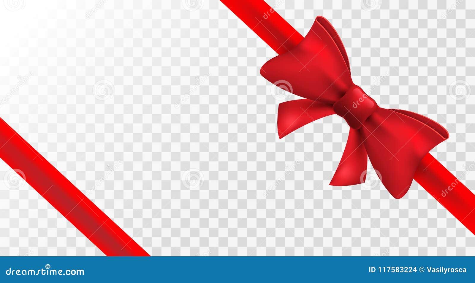 Ruban rouge avec l arc rouge Décoration d arc d isolement par vecteur pour le présent de vacances Élément de cadeau pour le desig
