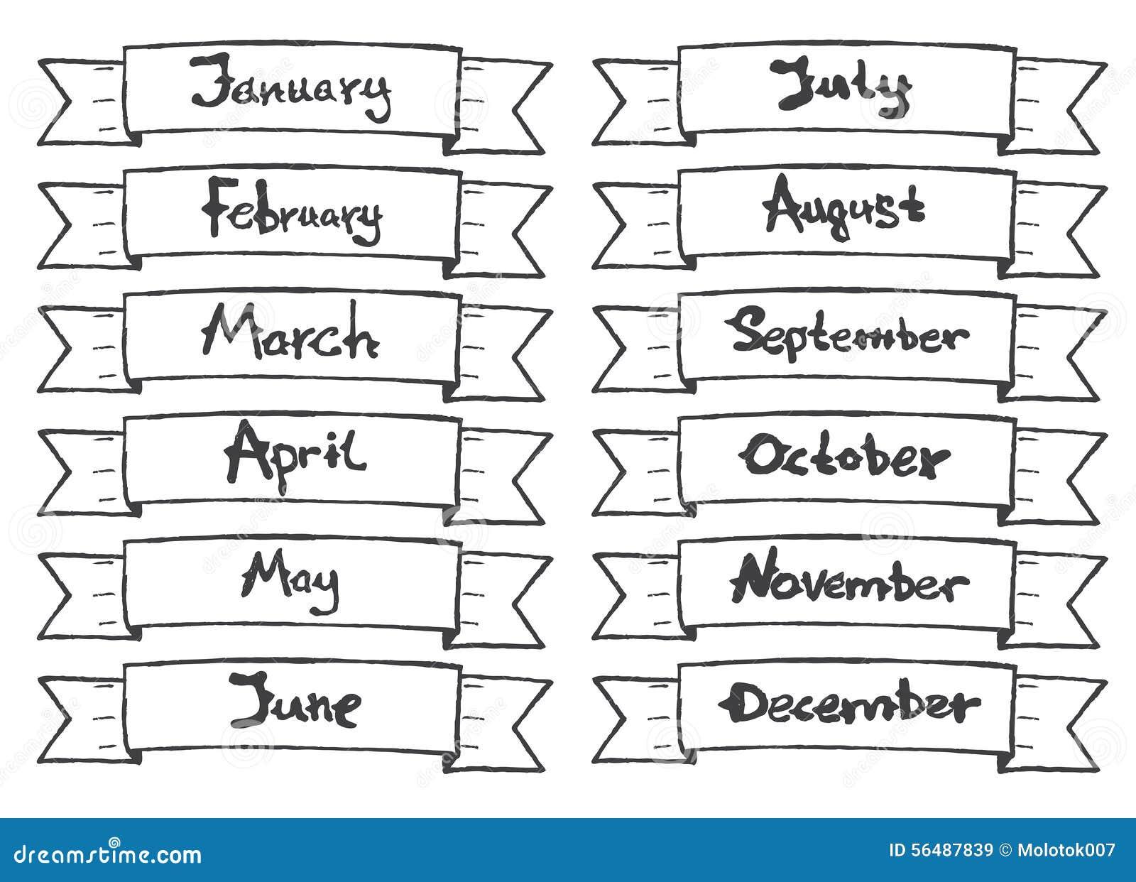 Ruban tiré par la main avec des mois pour le calendrier