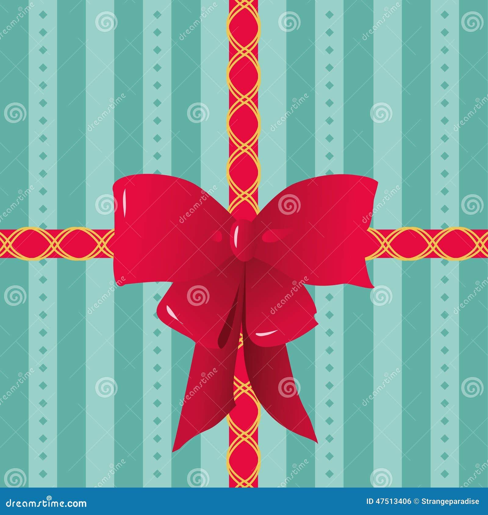 Rubans rouges et arc attachés sur le papier rayé d emballage cadeau