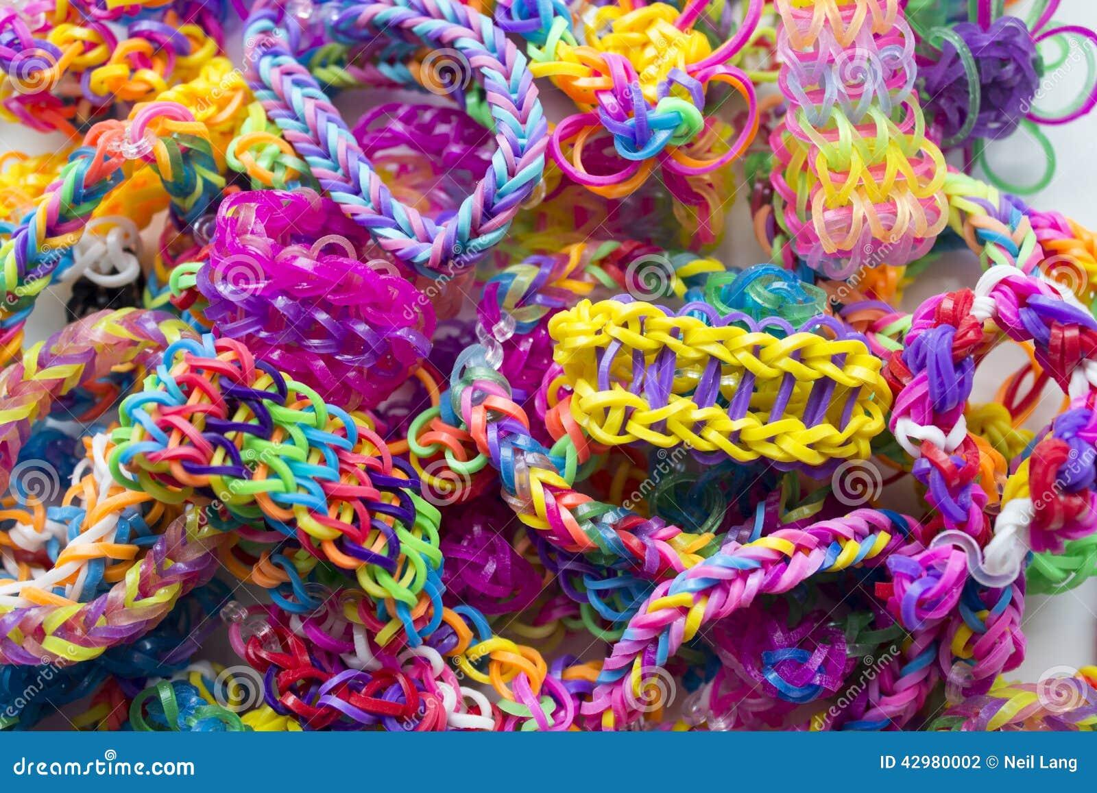 Background Band Bracelets Bright Close Rubber