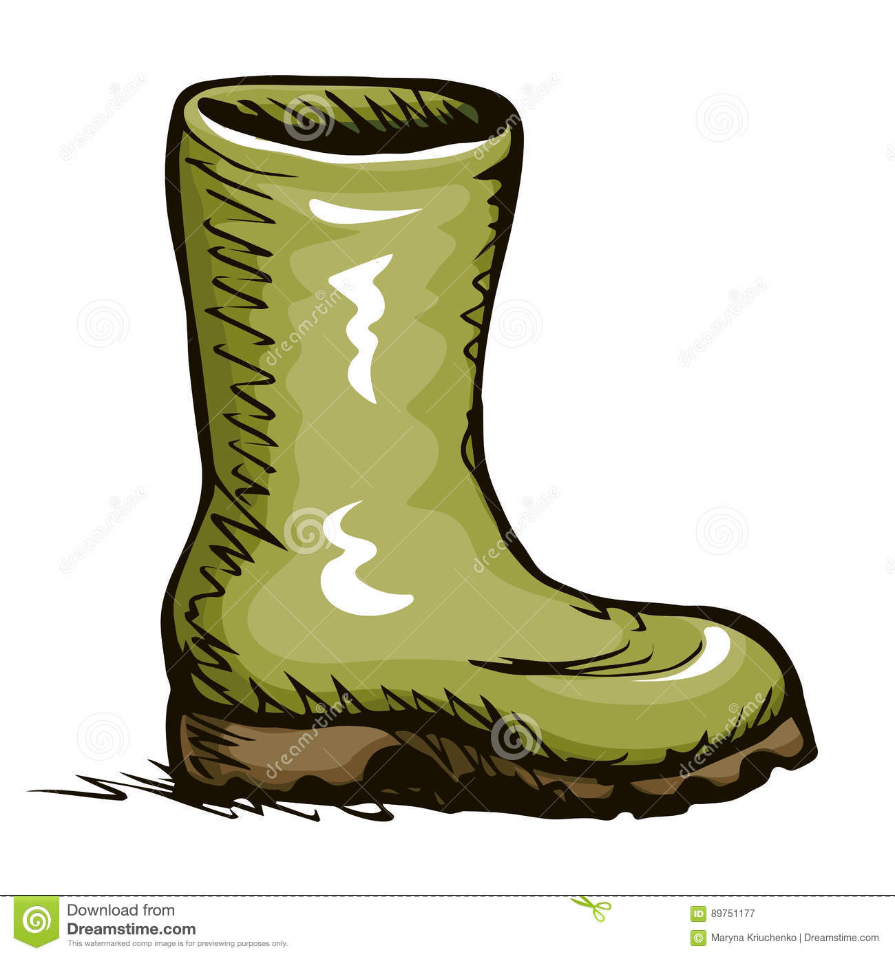 Rubber Boots Vector Drawing Vector Illustration