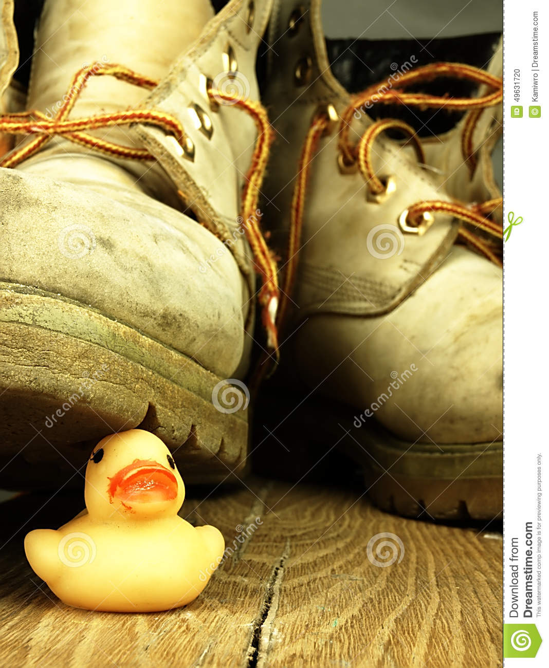 Rubber Duck Crushed By A Heavy, Old Military Boot. Stock Photo ...