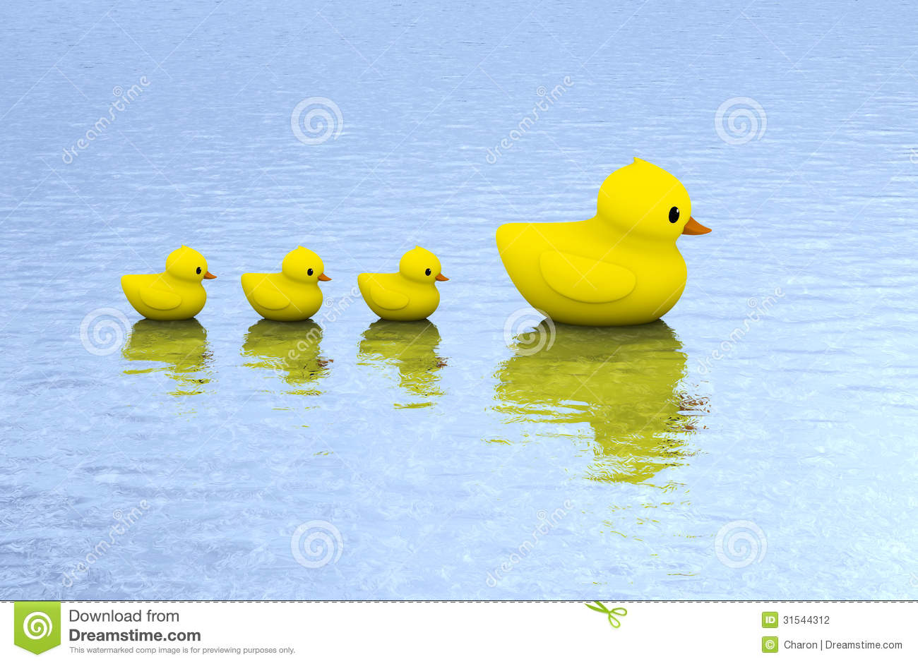 Rubber Duck Family On Water Stock Illustration - Image ...