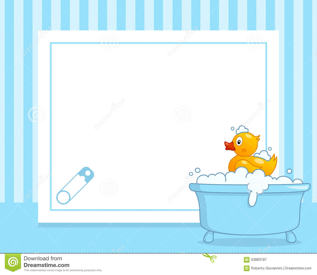 Rubber Duck Horizontal Boy Photo Frame Stock Vector