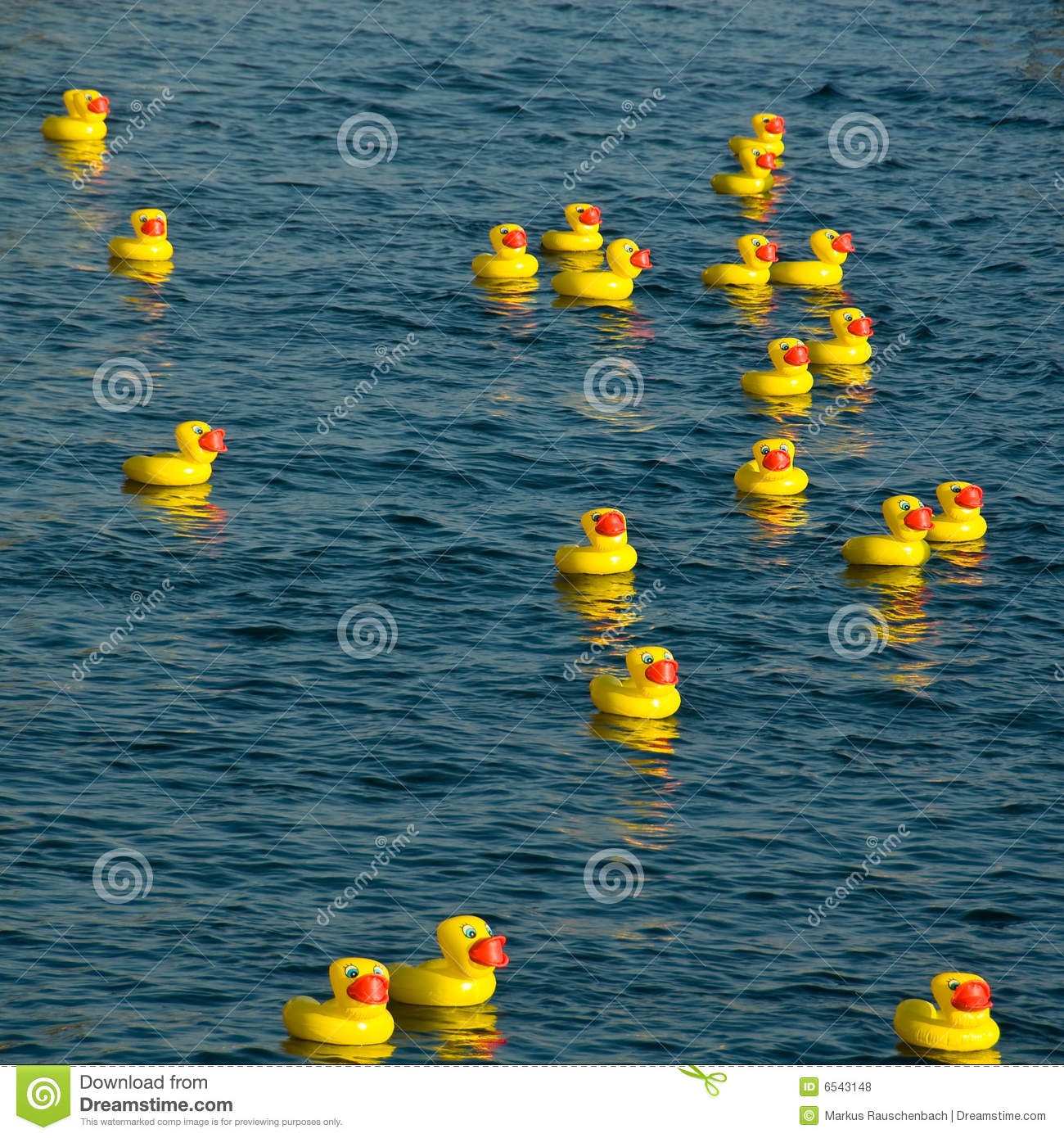 Many Yellow Rubber Ducks Floating In Water Stock Photo - Image of ...