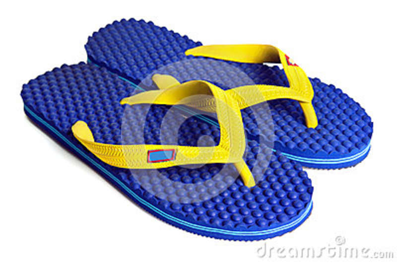 0fcb53d9e99 Rubber embed with plastic sandal or slipper product with black and yellow  stripes isolated on white