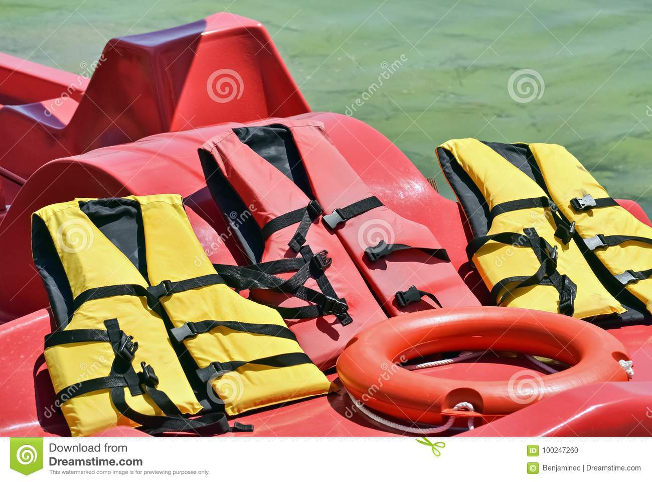 rubber jackets and lifesaver stock photo image of outdoor closeup