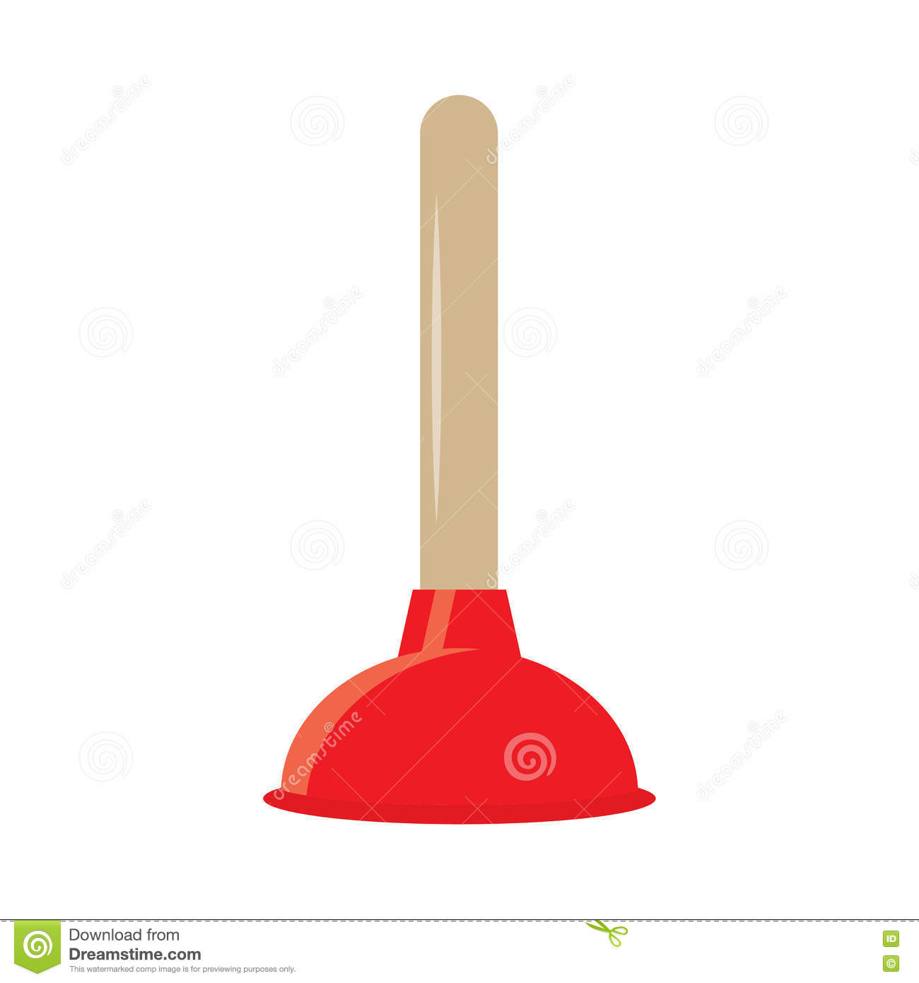 Rubber Plunger Red Cup On White Background. Stock Vector ...