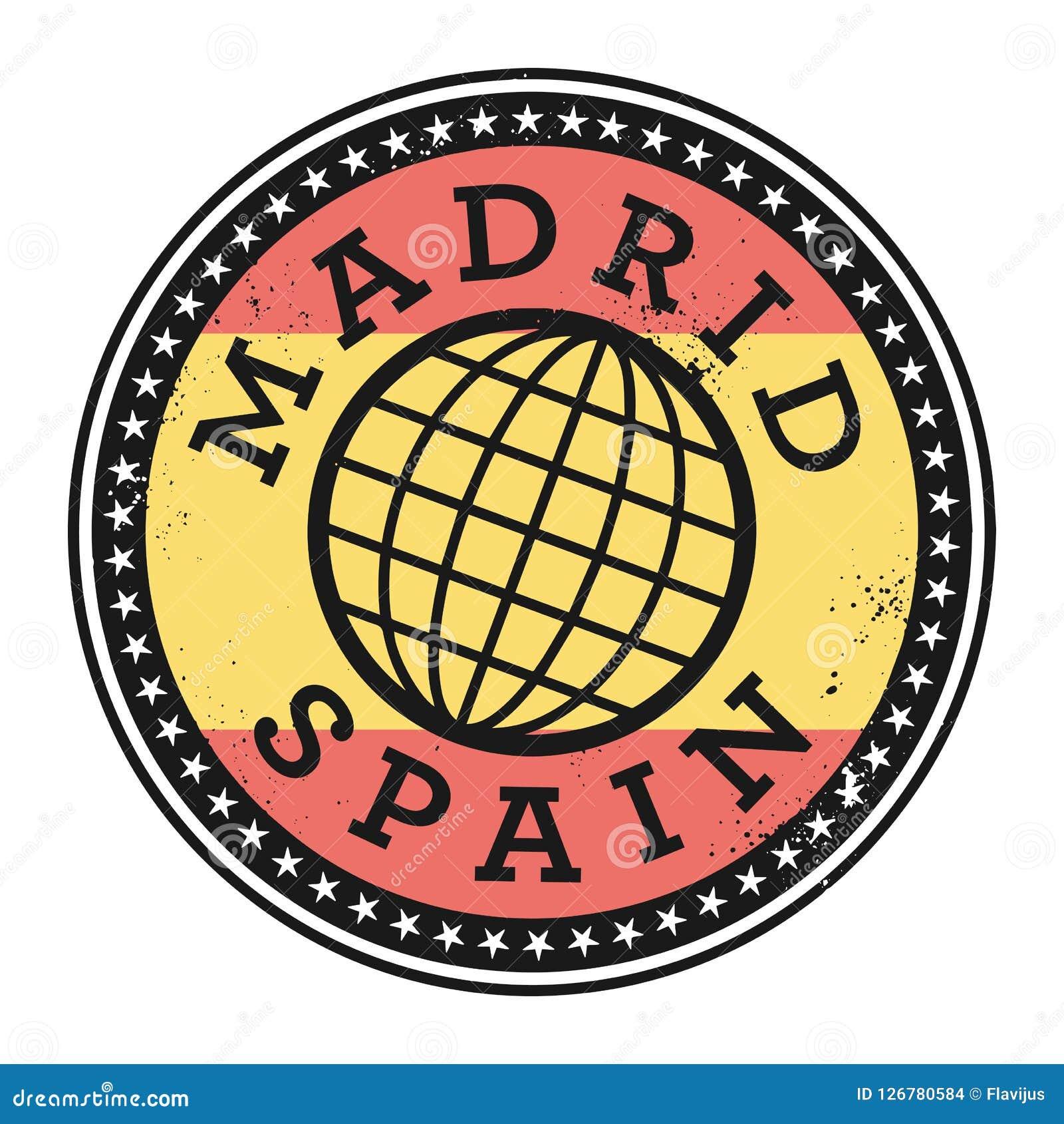 Rubber stämpel för Grunge med texten Madrid, Spanien