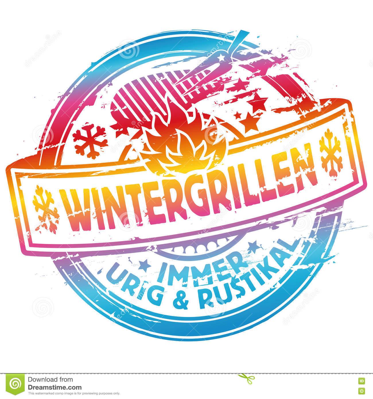 Rubber stamp winter grilling