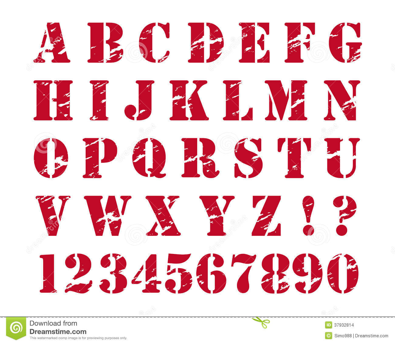 Rubber Stamps Style Alphabet