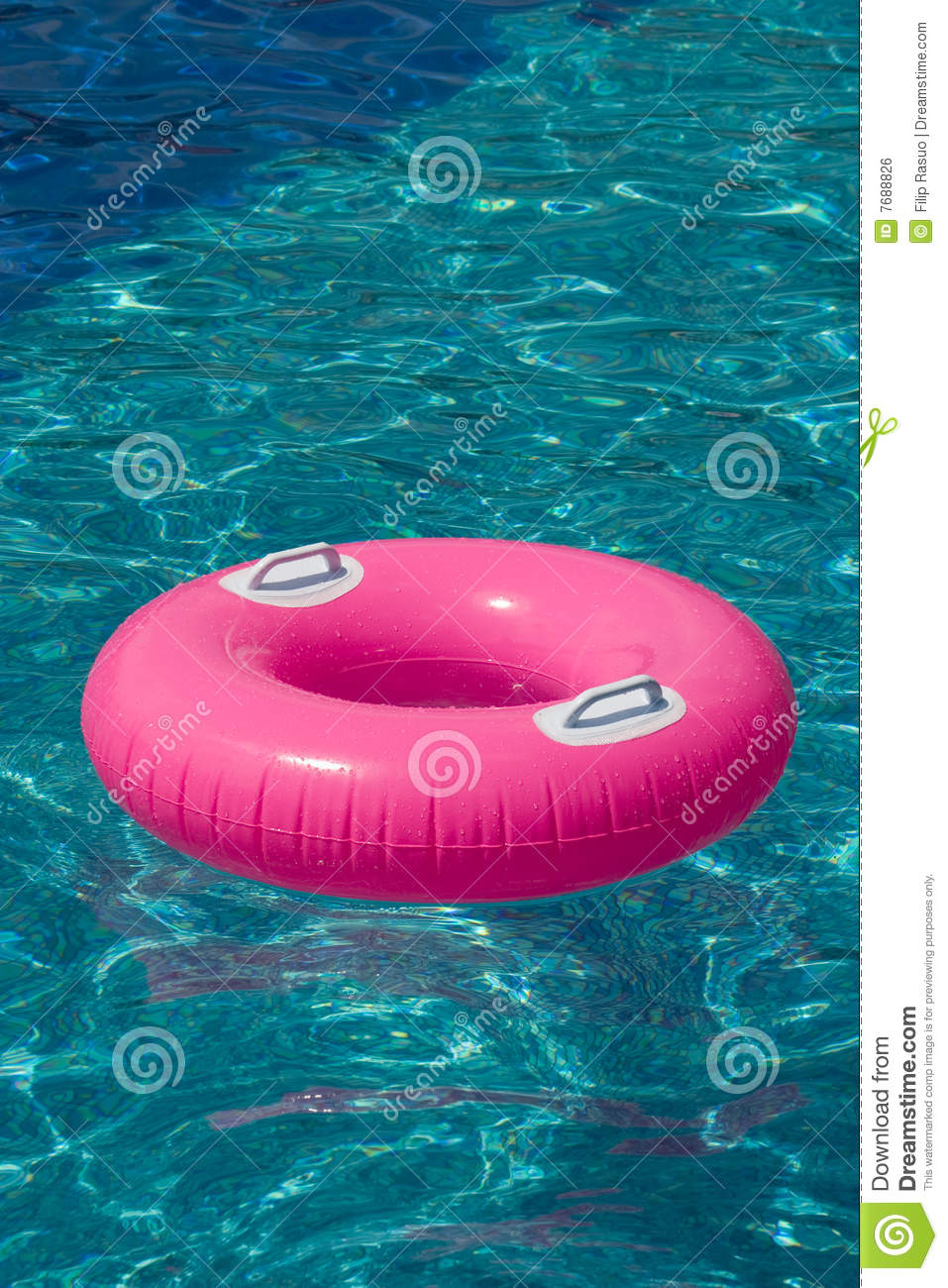 Rubber Swimming Pools : Pink rubber ring in the swimming pool stock image