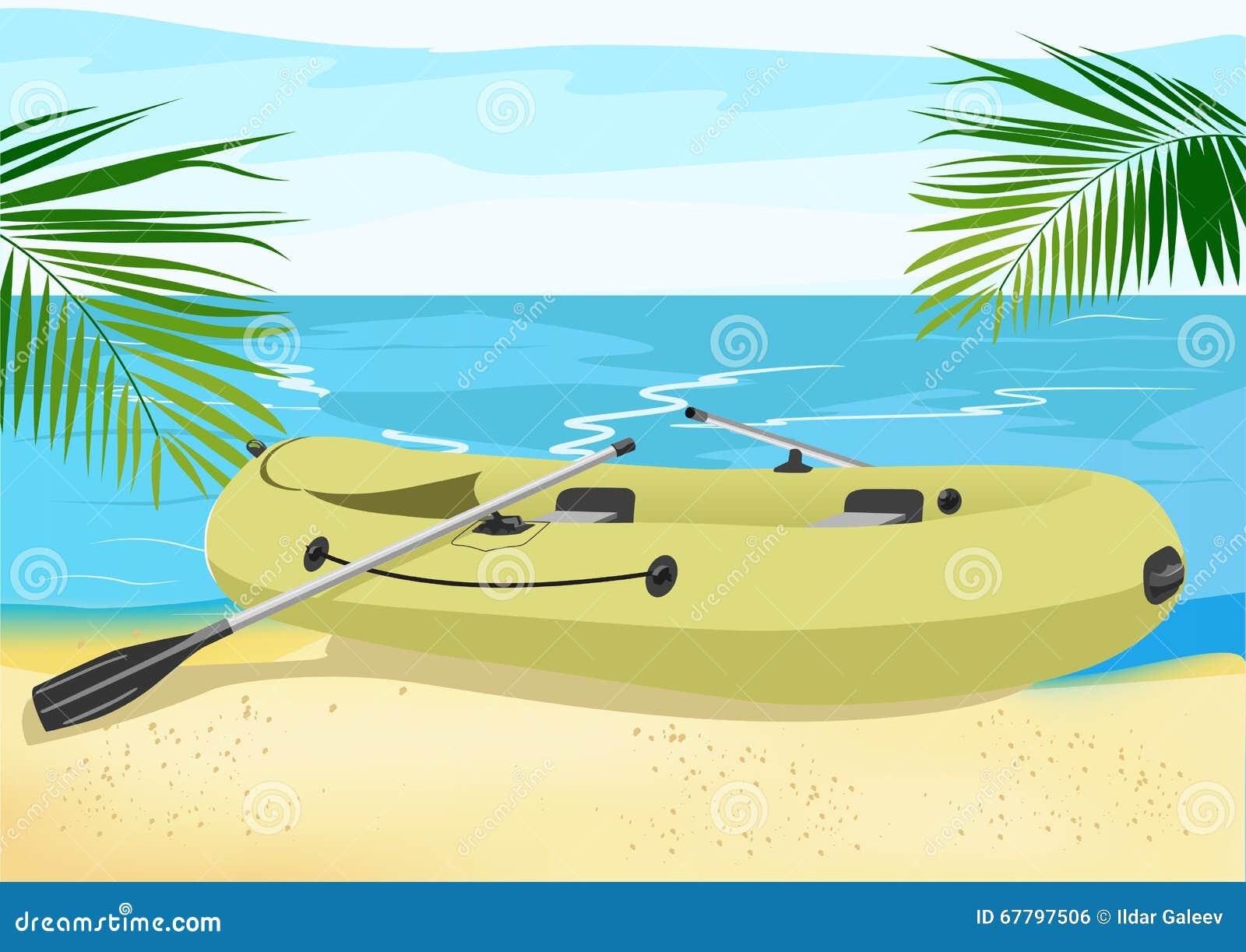 Rubberboot op de overzeese kust