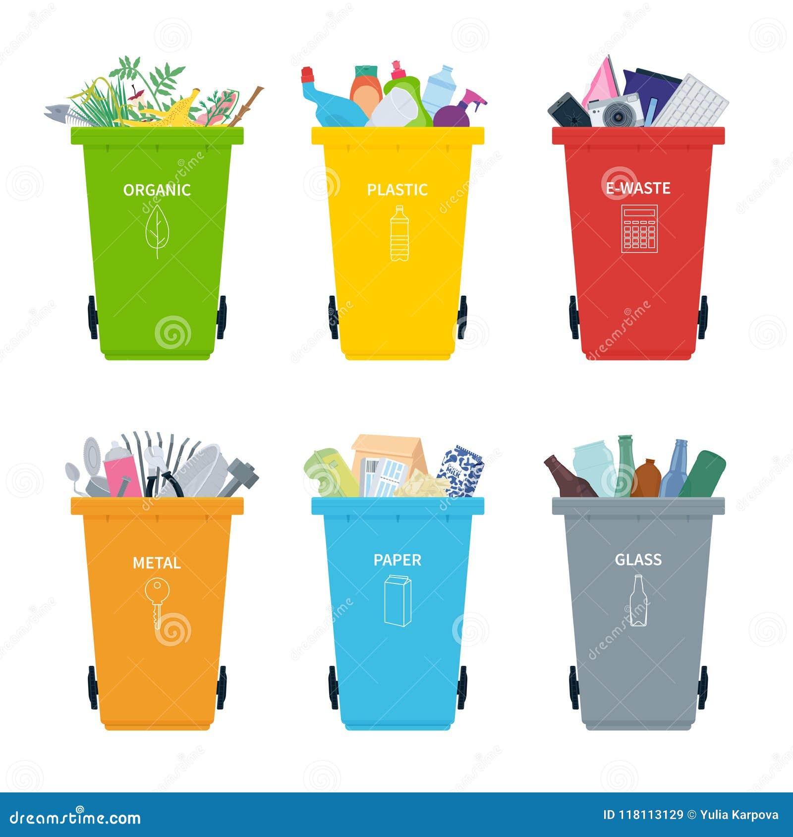 Rubbish los compartimientos por completo de diversos tipos - Colores para reciclar ...