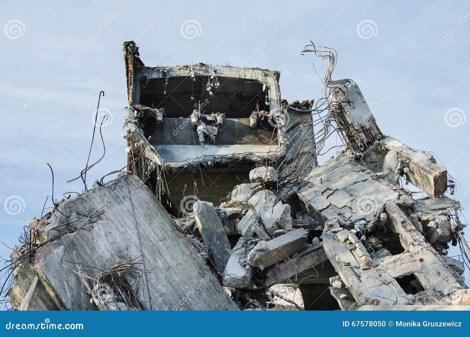 Building Demolition Cartoon : Rubble and scrap after demolition stock photography