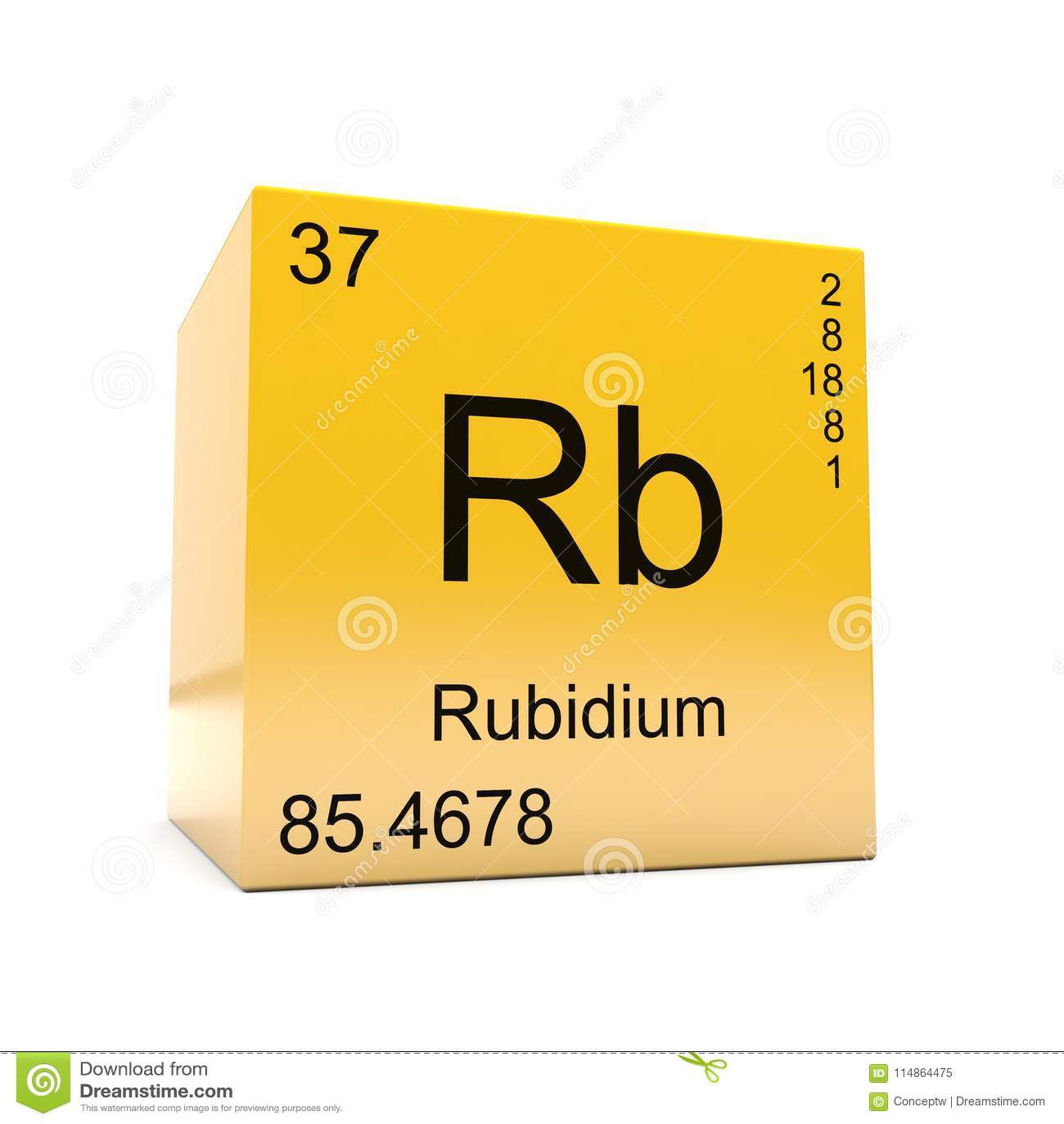 Rubidium Chemical Element Symbol From Periodic Table Stock