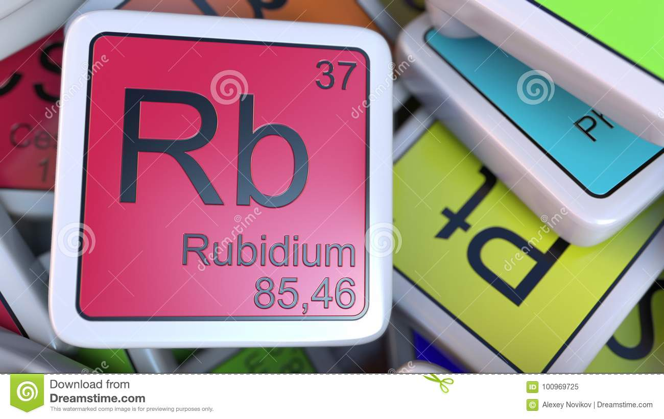 Rubidium Rb Block On The Pile Of Periodic Table Of The ...