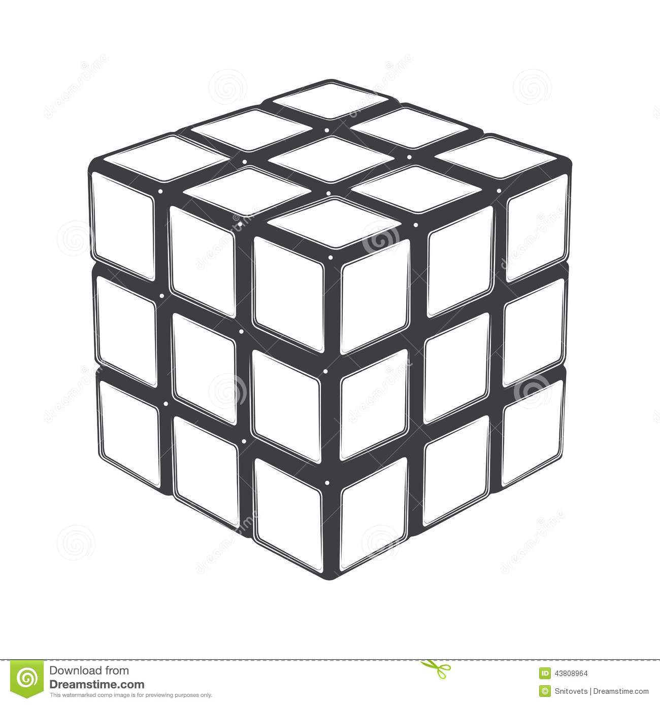 Rubik s cube isolated on a white background. Line art. Modern design ...