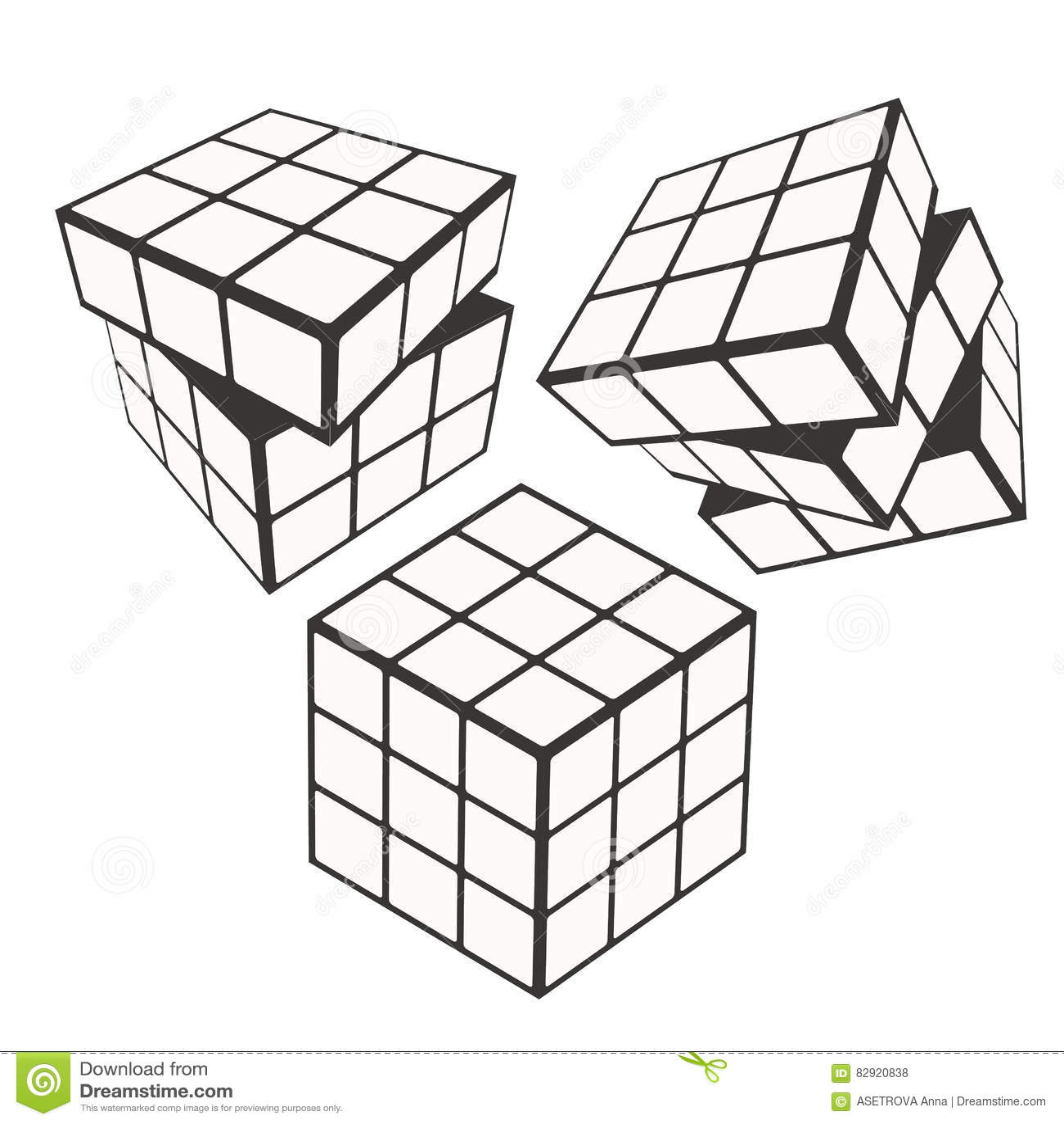 rubik s cube logo design icon vector illustration geometric sign