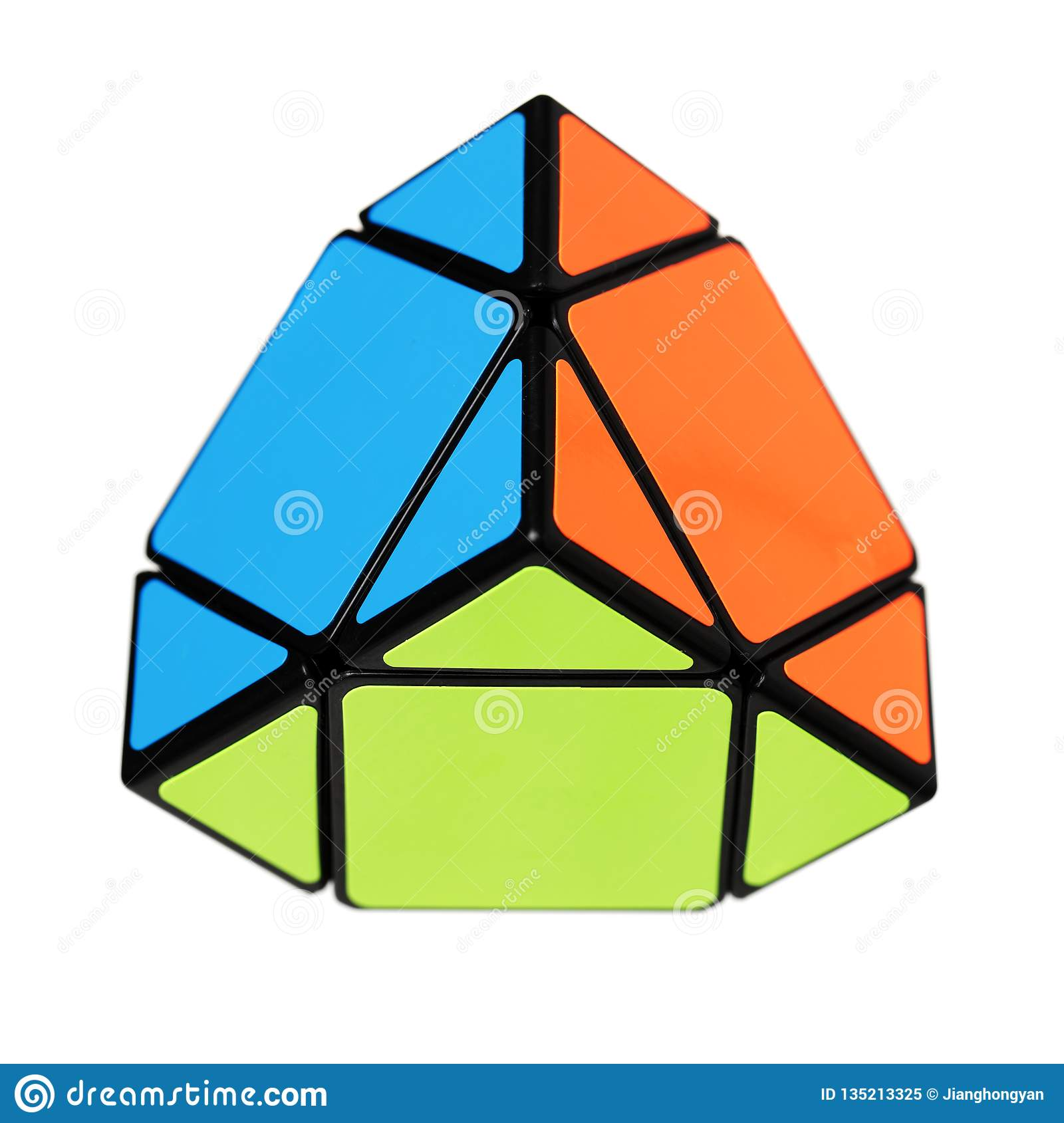 Rubik`s Pyramid Looking Cube Called Pyraminx Used For
