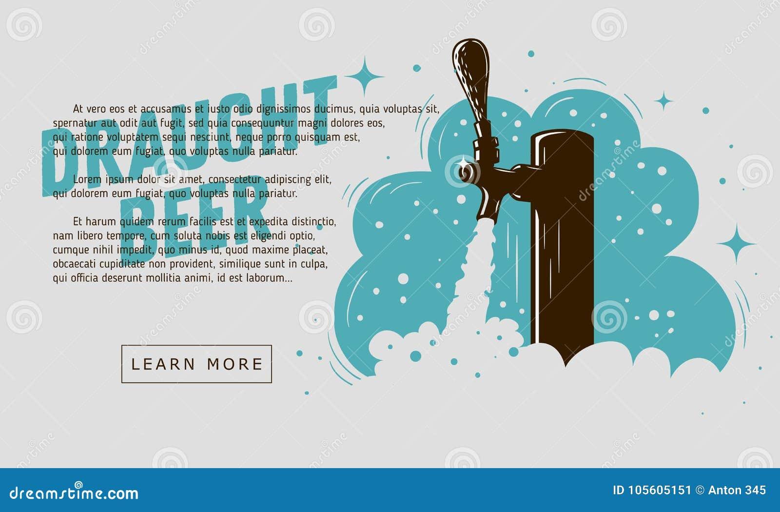 Rubinetto della birra alla spina con progettazione dell insegna di web della schiuma per la promozione