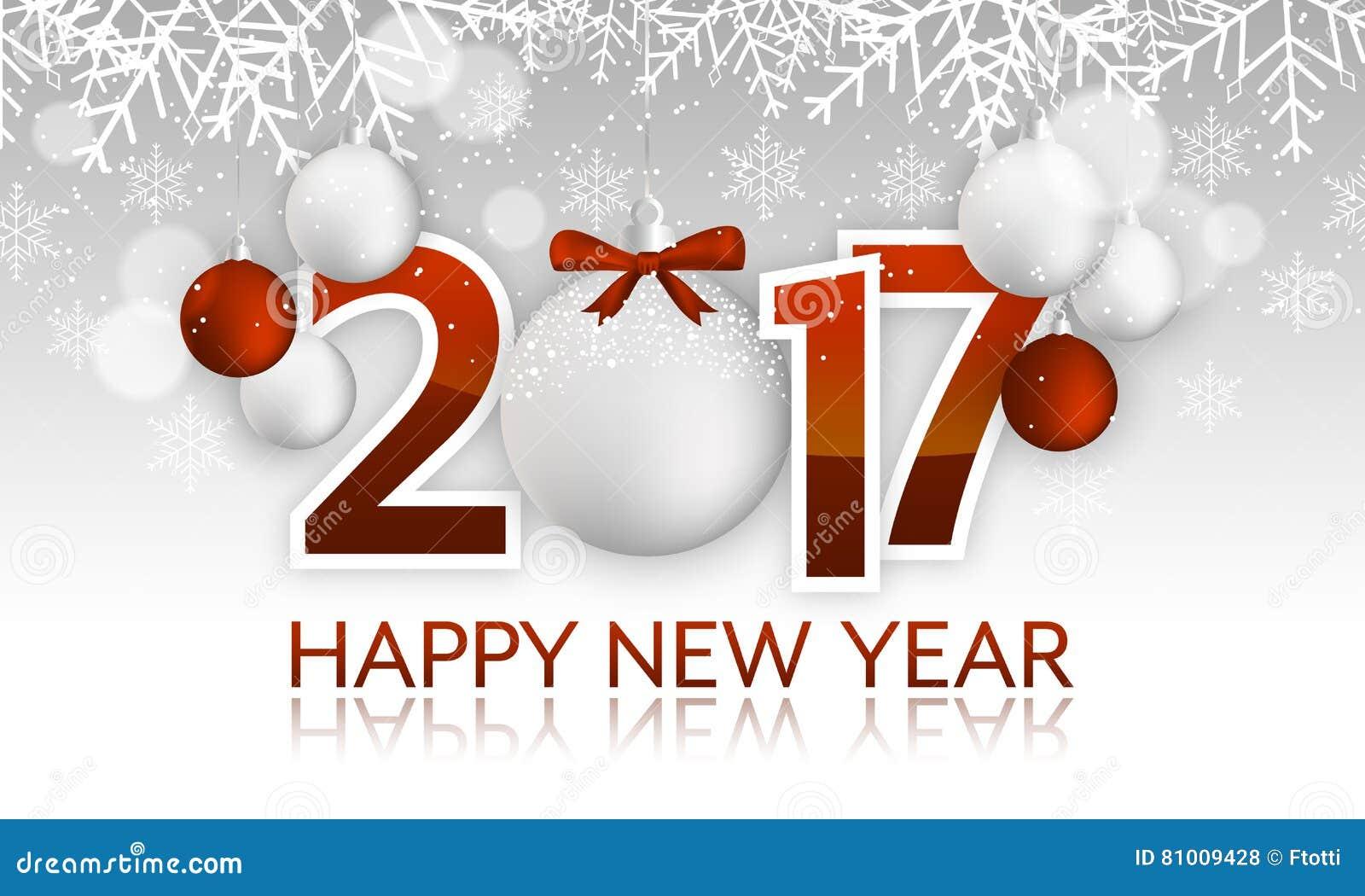 Rubrik eller baner för lyckligt nytt år 2017 med den hängande struntsaken, pilbåge, snöflingor, snö