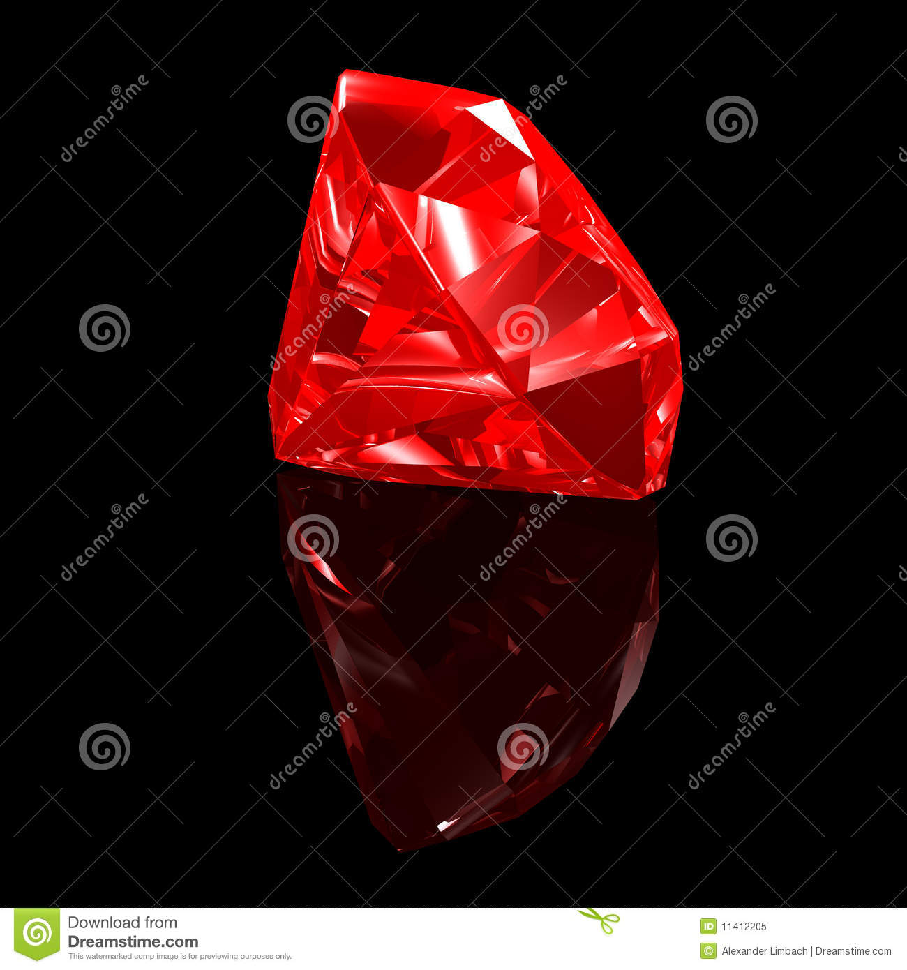 Ruby 3d Black Background Royalty Free Stock Photo Image
