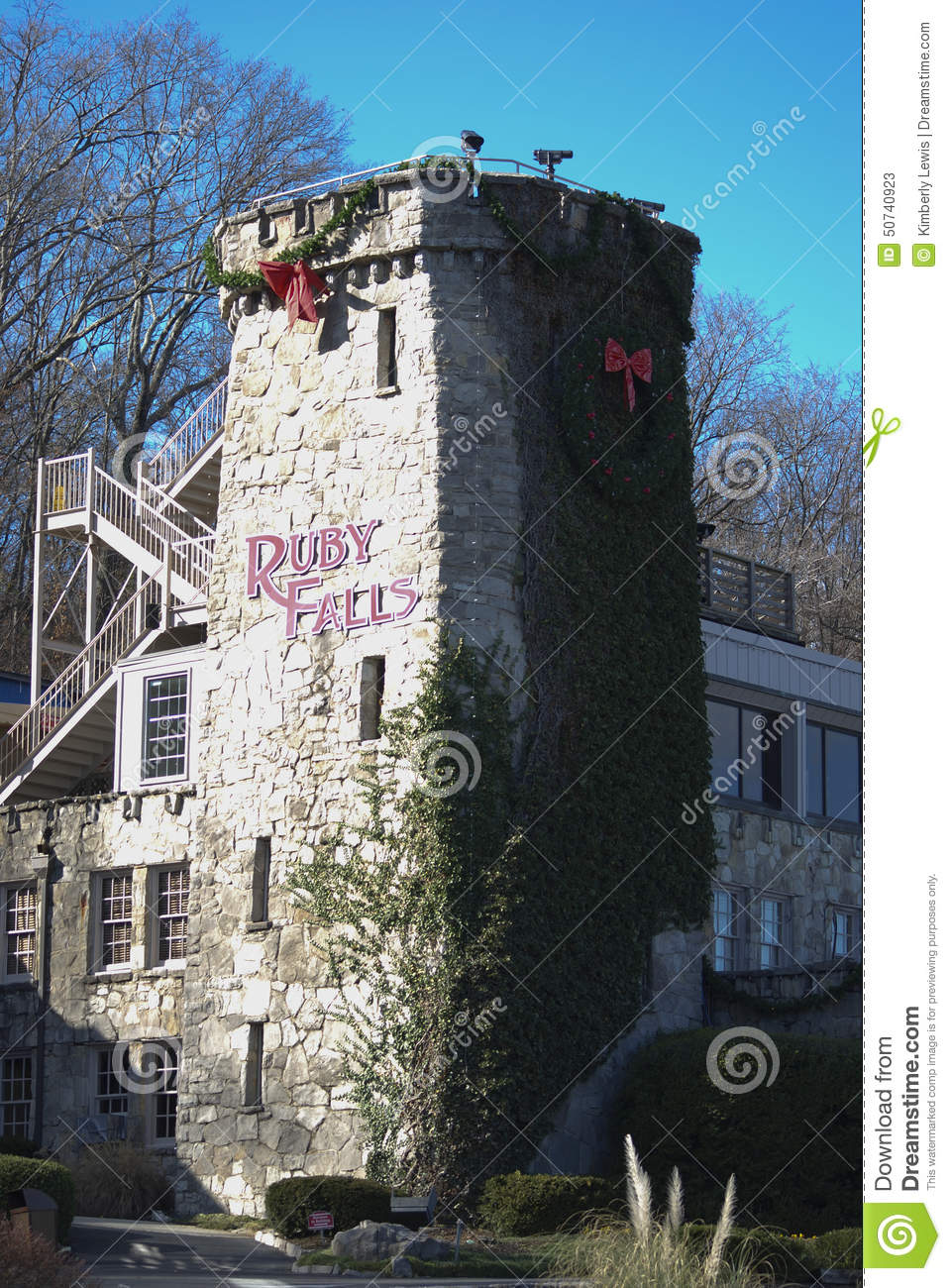 Christmas In Tennessee.Ruby Falls Sign On Stone At Christmas In Tennessee