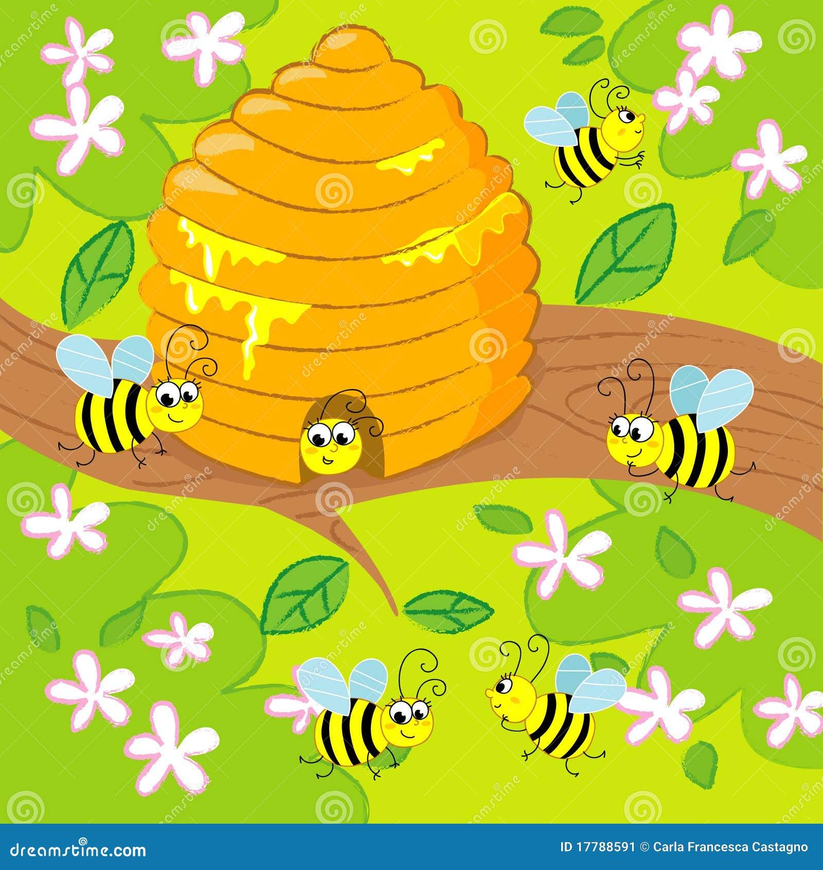 Ruche de dessin anim illustration de vecteur - Dessin de ruche d abeille ...