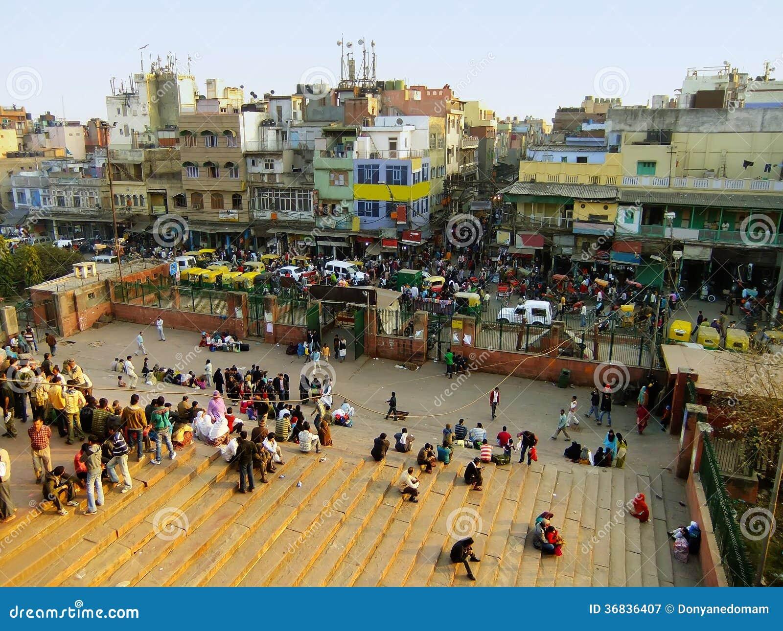 Ruchliwe ulicy Stary Delhi, widok od Jama Masjid