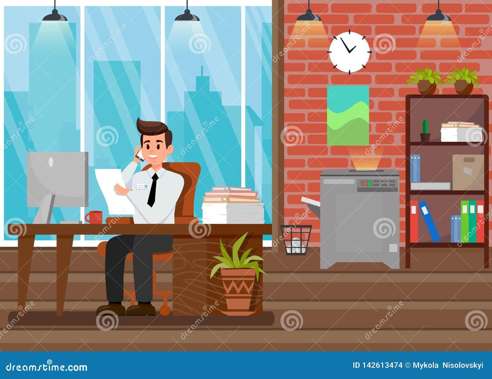 Ruchliwie szef przy miejsce pracy P?ask? Wektorow? ilustracj?