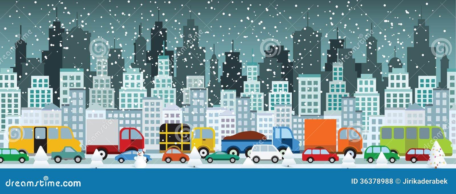 Ruchu drogowego dżem w mieście (zima)