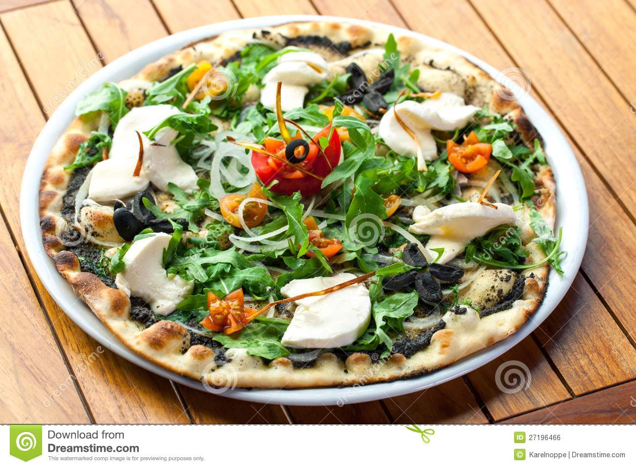 Rucola Pizza With Fresh Mozzarella. Royalty Free Stock ...