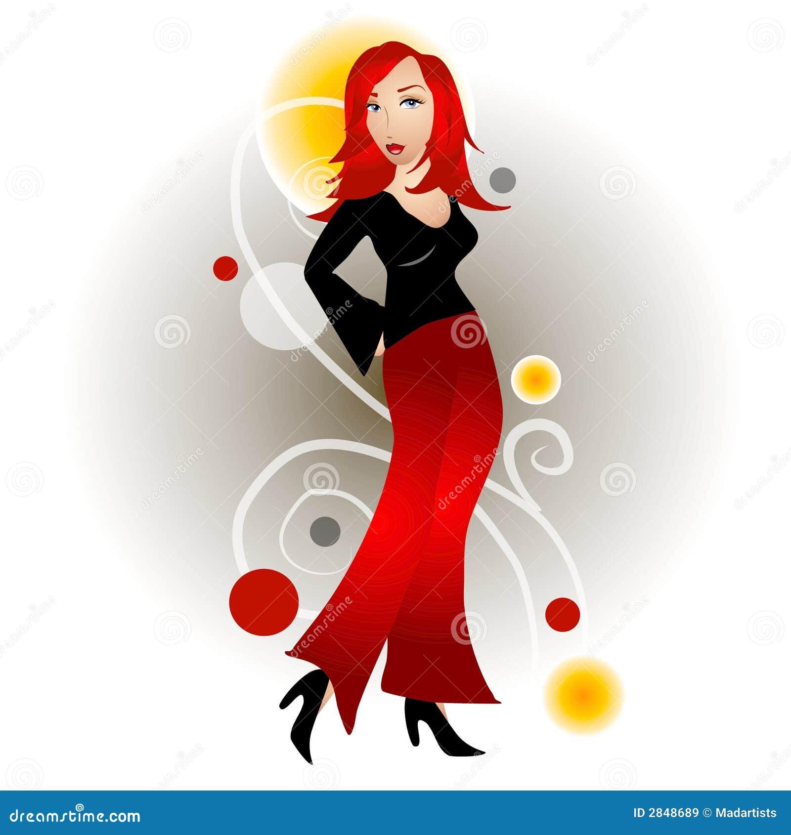 Ruda kobieta mody