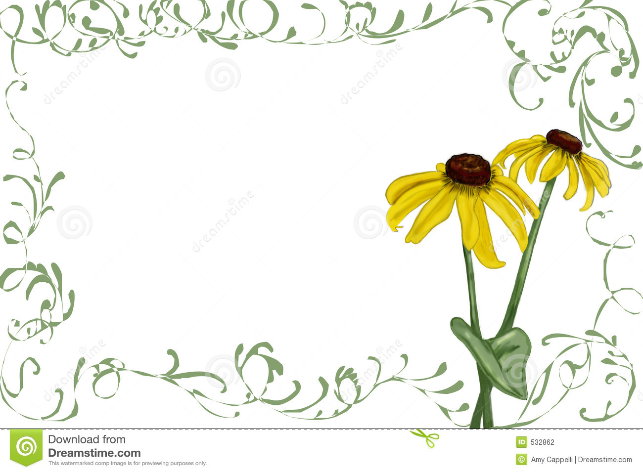 Rudbeckia with green vines