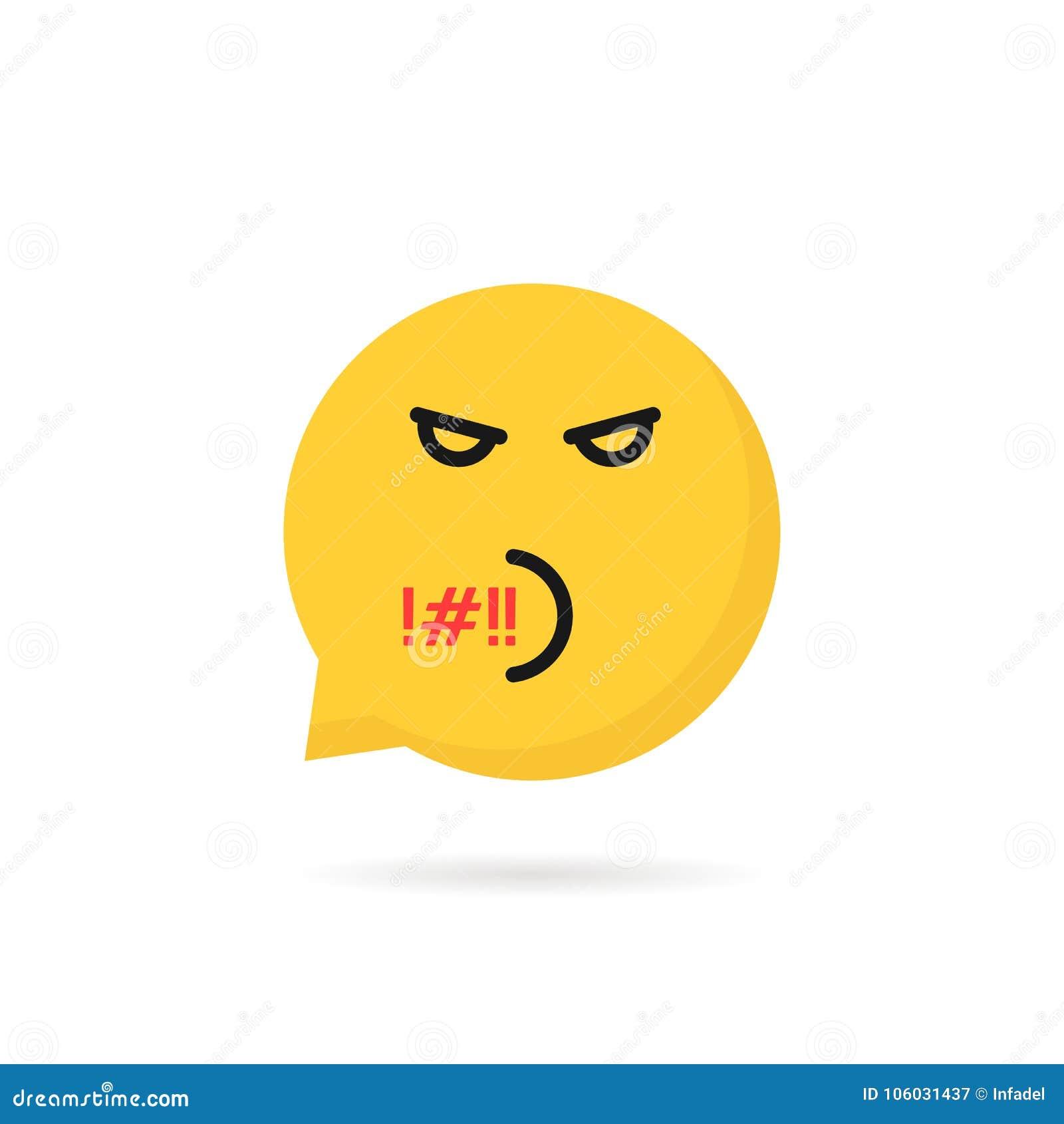 Rude Emoji Speech Bubble Logo Stock Vector - Illustration of