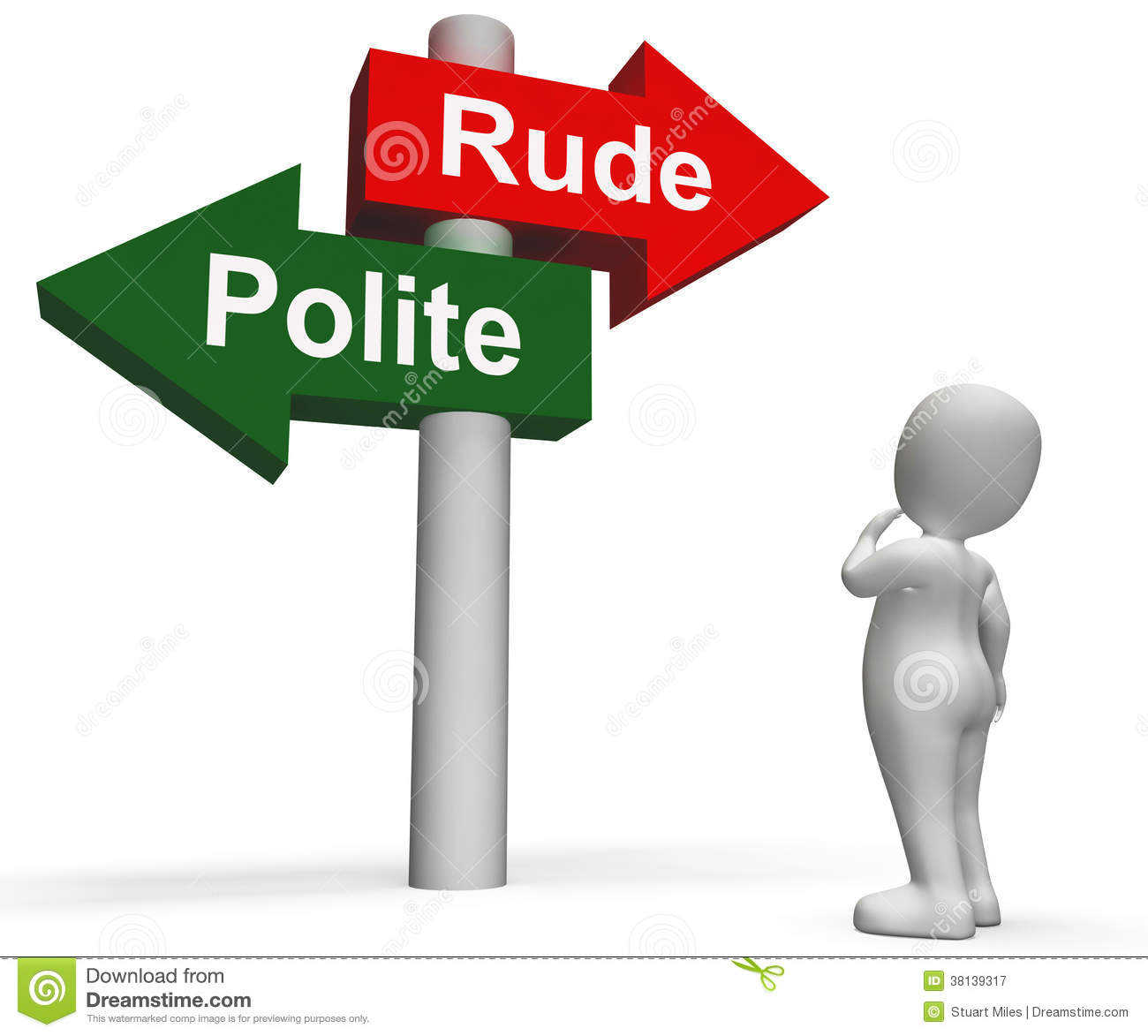 Royalty Free Stock Photography: Rude Polite Signpost Means Good Bad ...
