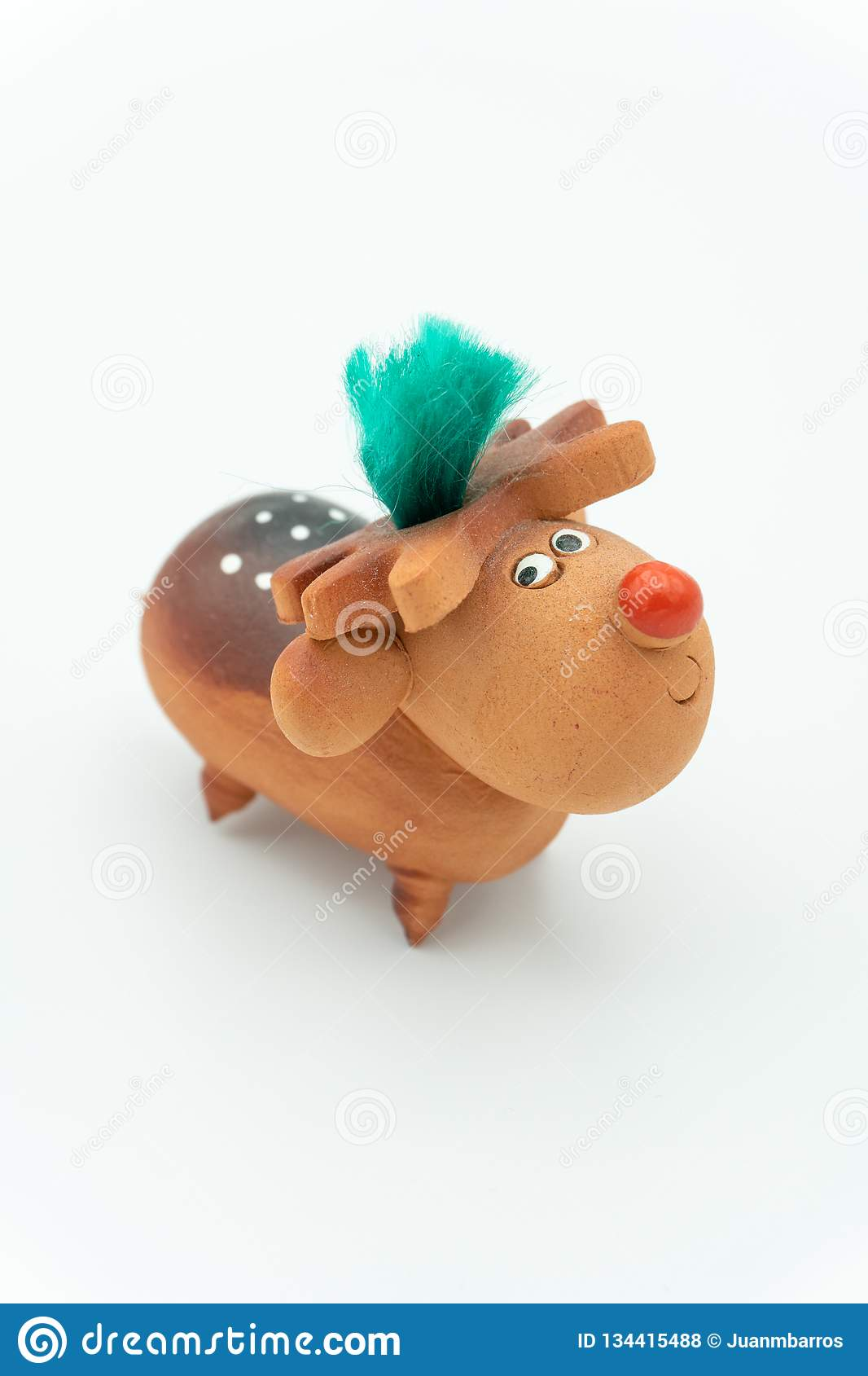 Rudolph het ceramische rendier met een rode neus