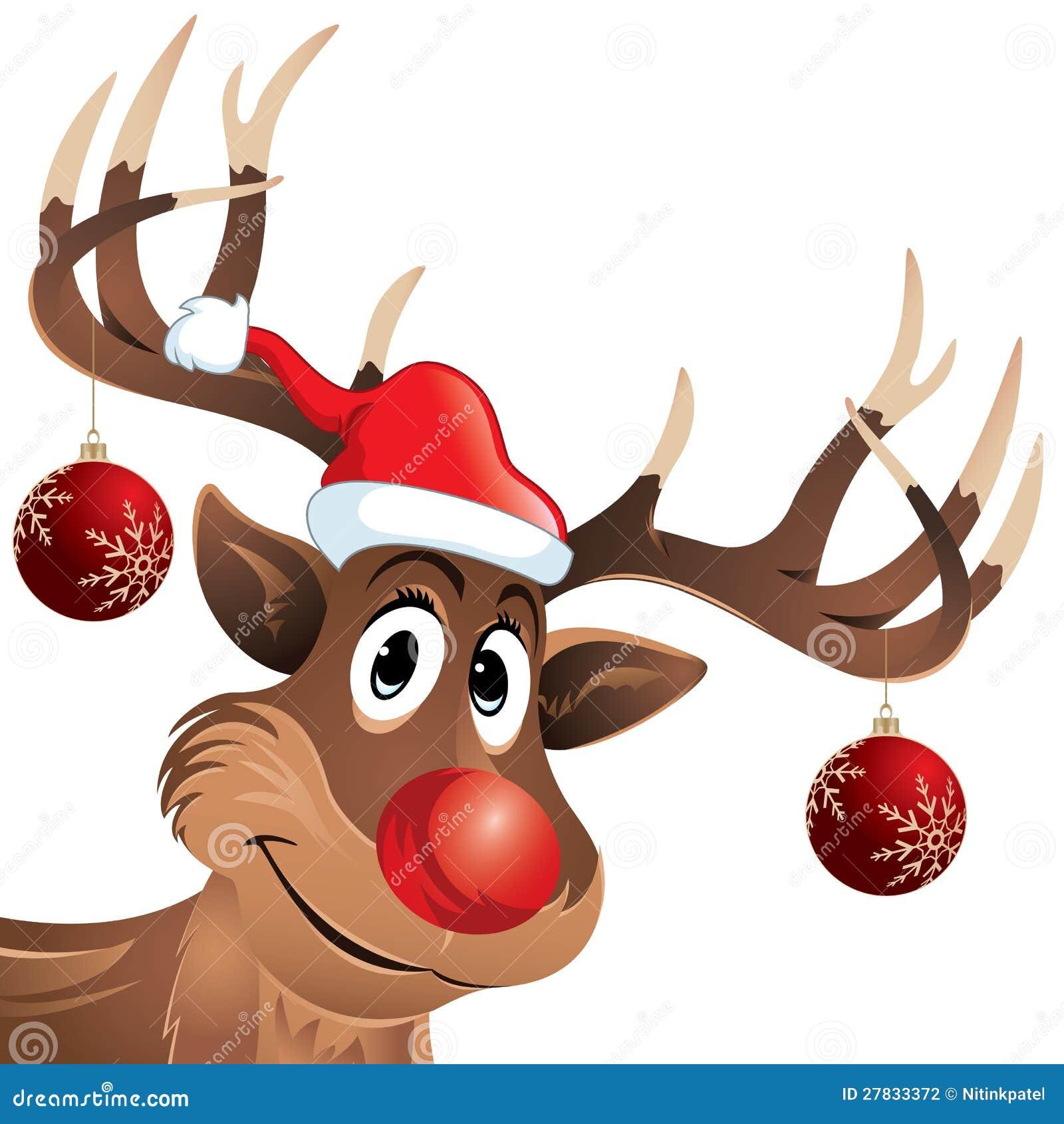 renne du pere noel nez rouge Rudolph Le Nez Rouge De Renne Avec Des Billes De Noël Illustration  renne du pere noel nez rouge