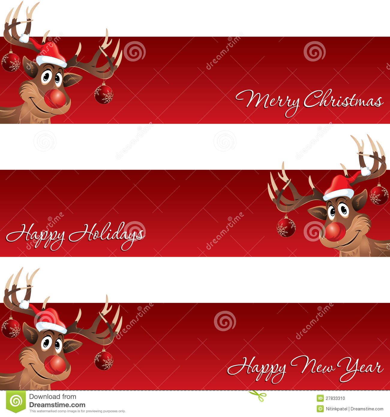 rudolph the reindeer christmas and new year banner