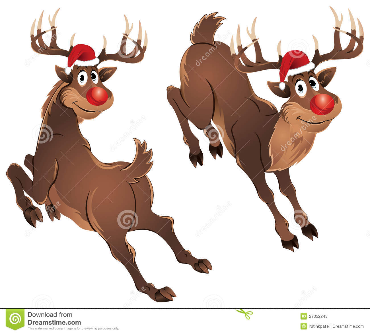Rudolph The Reindeer jumping in different style. There are two poses ...