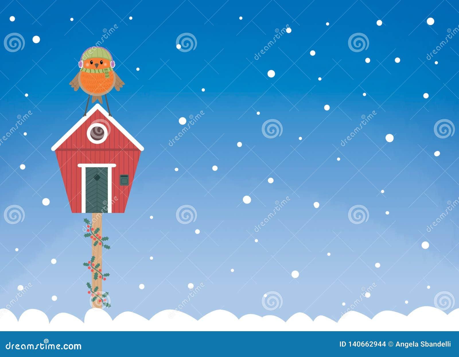Rudzik zimy domu pocztówka