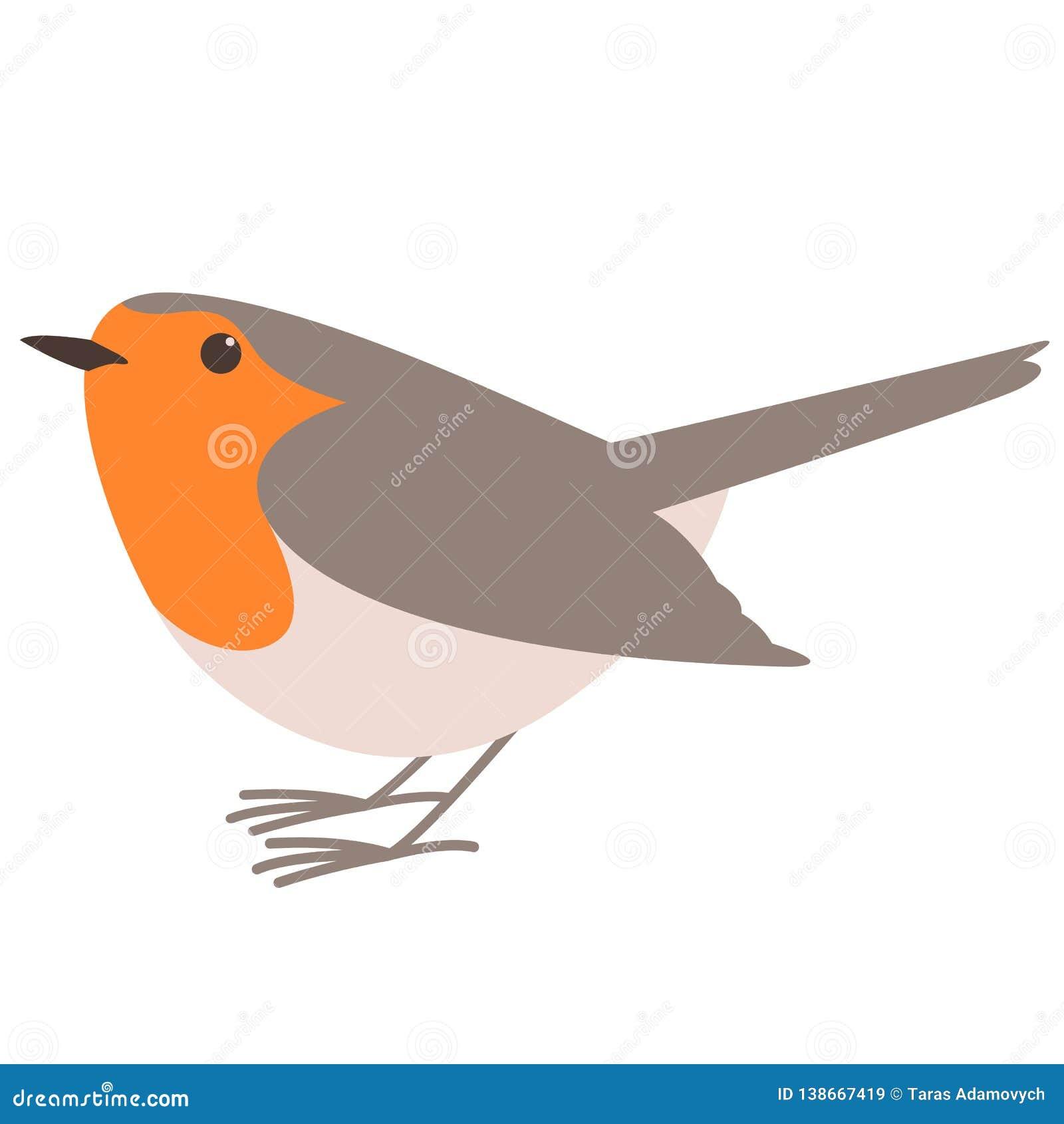 Rudzika ptak, wektorowa ilustracja, mieszkanie styl, profil