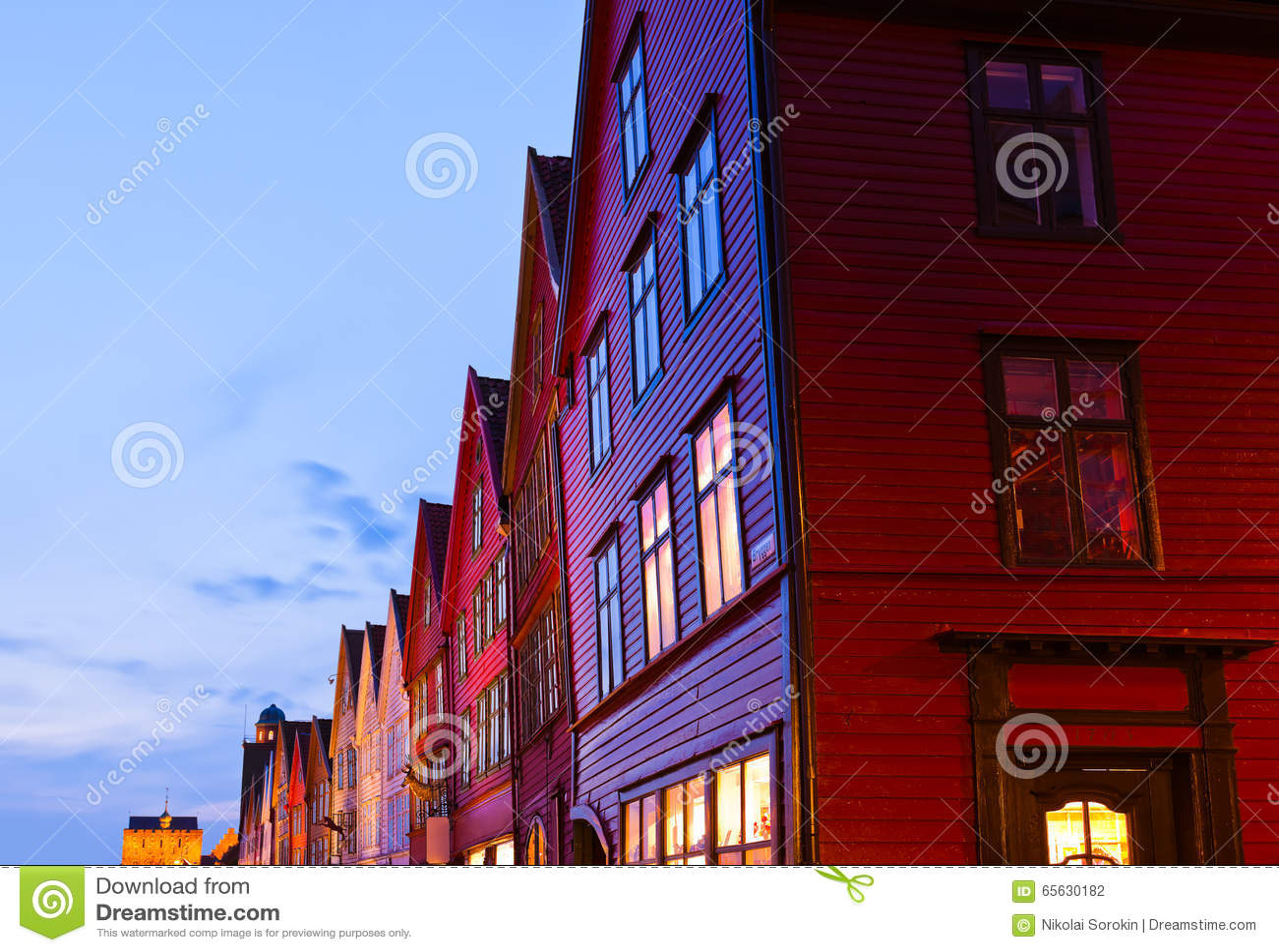 Rue célèbre de Bryggen à Bergen - en Norvège